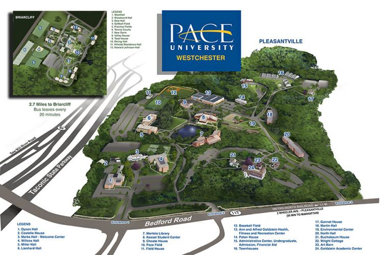 Pace Campus Map.Pace University Westchester Campuses Ny